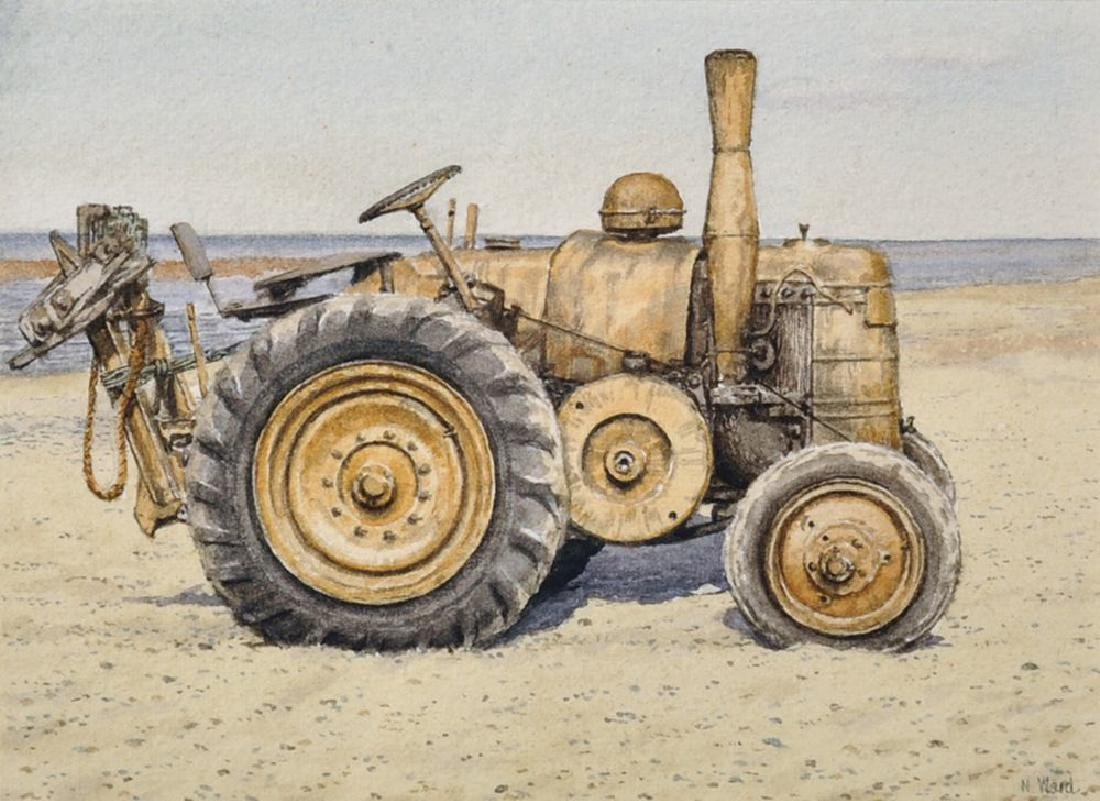 N...Ward (20th Century) British. Tractor on a Beach,