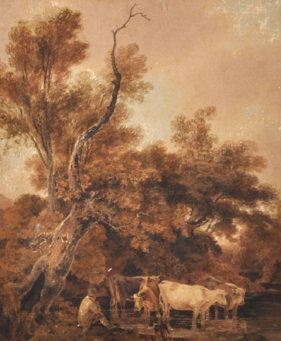 Joseph Rhodes (1782-1855) British. Drover and Cattle in