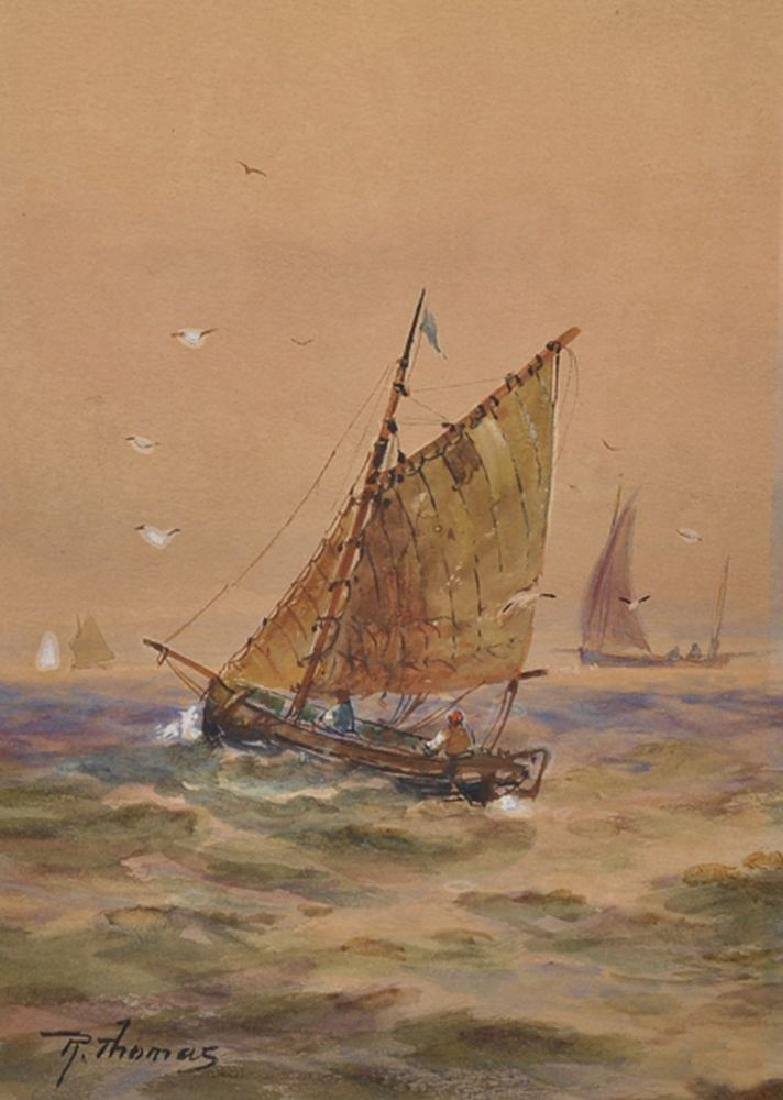 R Thomas (19th Century) British. A Sailing Vessel,