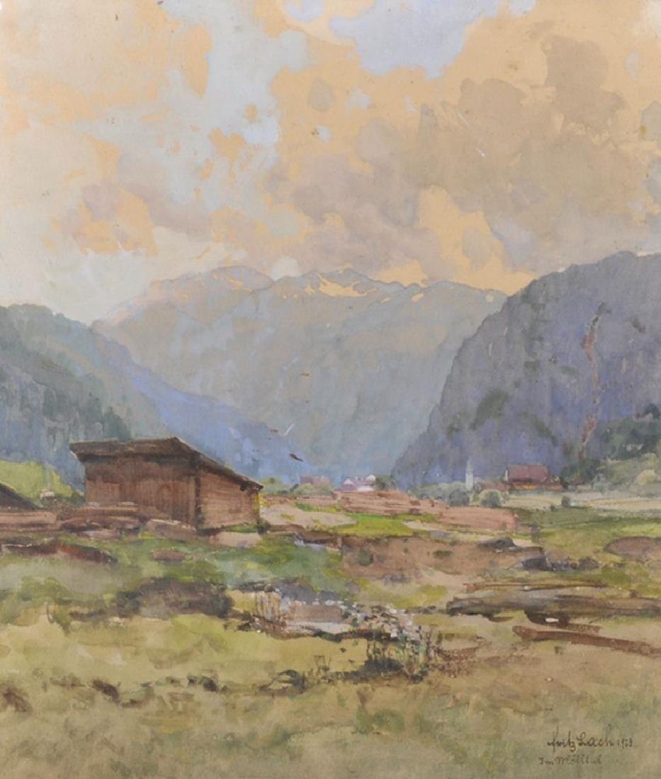 Fritz Lach (1868-1933) Austrian. An Alpine Village,