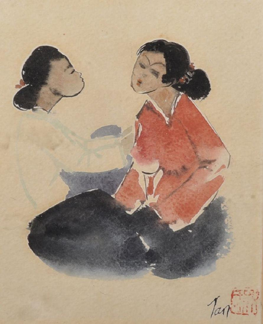 Tan (20th Century) Chinese. A Study of Two Seated
