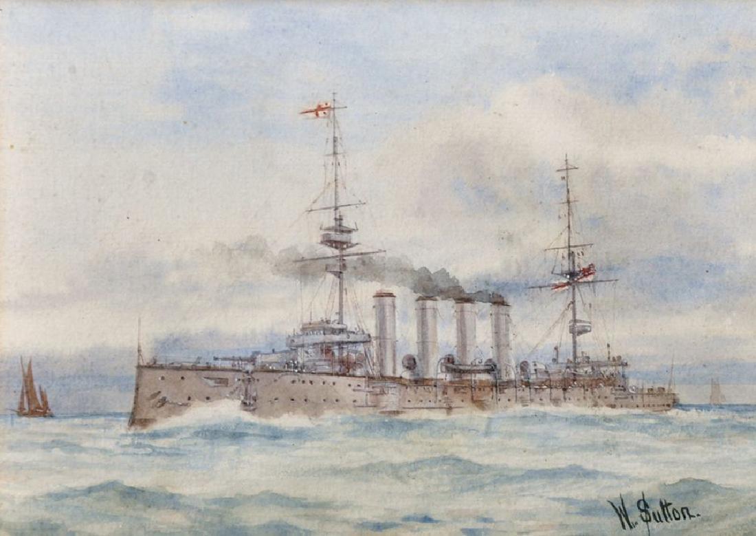 W... Sutton (19th-20th Century) British. A Destroyer in