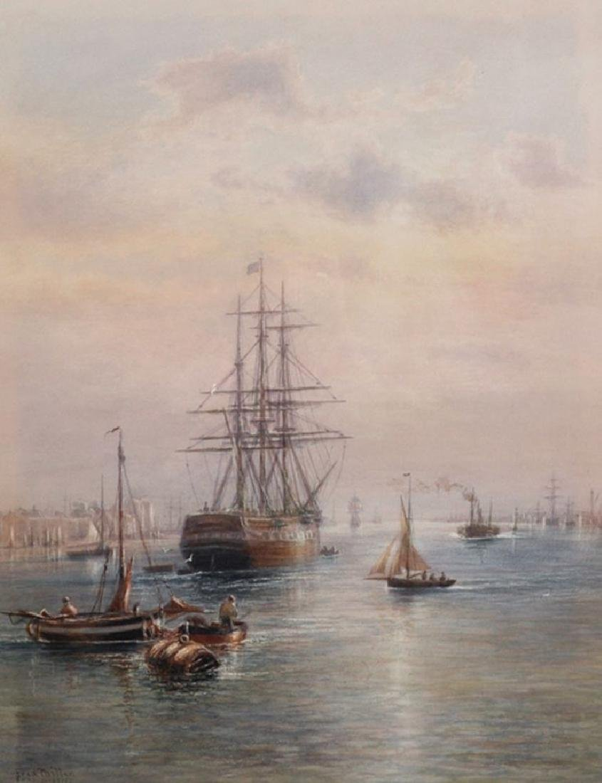 Fred Miller (19th Century) British. Shipping Scene off
