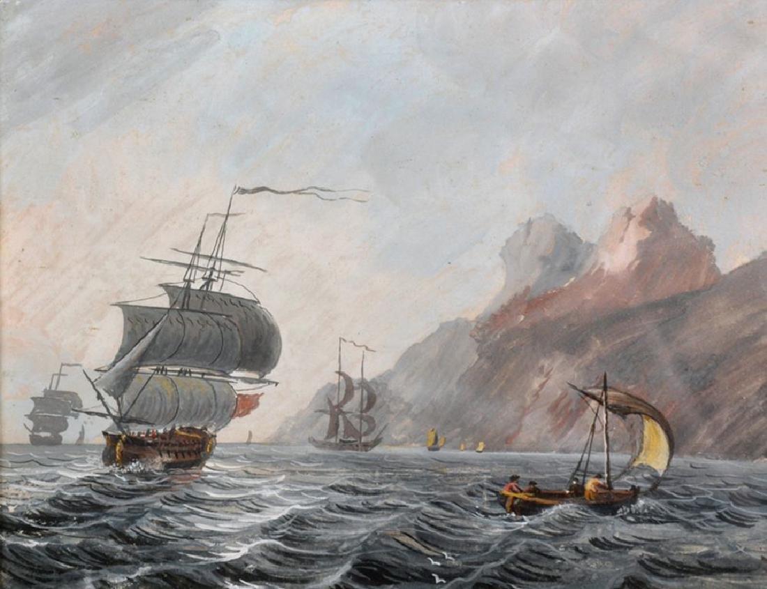 19th Century Dutch School. Shipping in Calm Seas by a