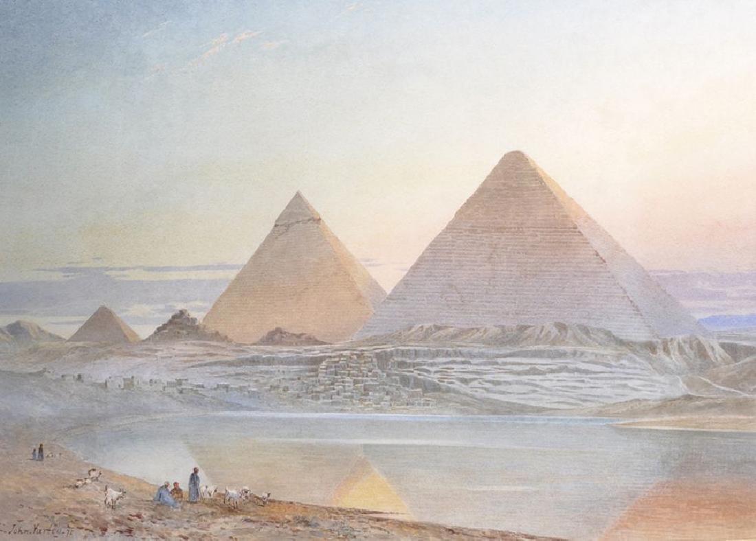 John Varley (1850-1933) British. 'The Pyramids, Giza',