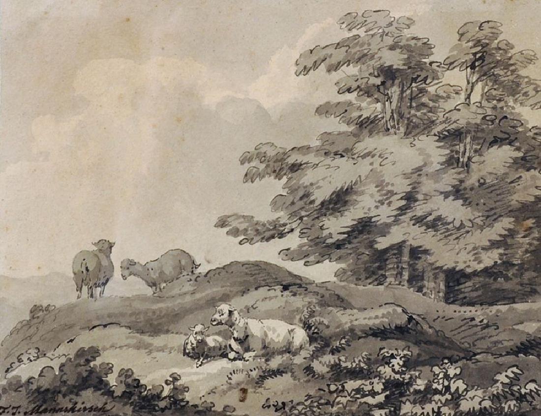"Franz Joseph Manskirch (1768-1830) German. ""Sheep in a"