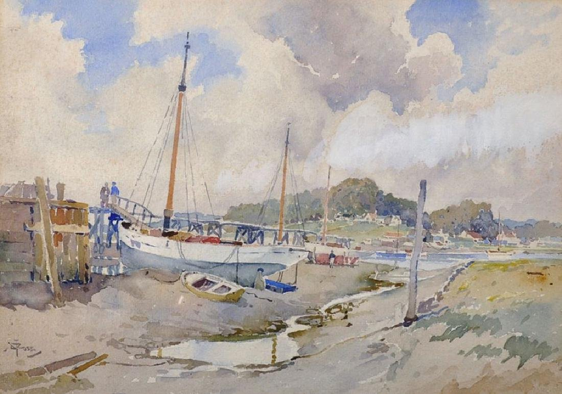 David Thomas Rose (1871-1964) British. Boatyard Jetty