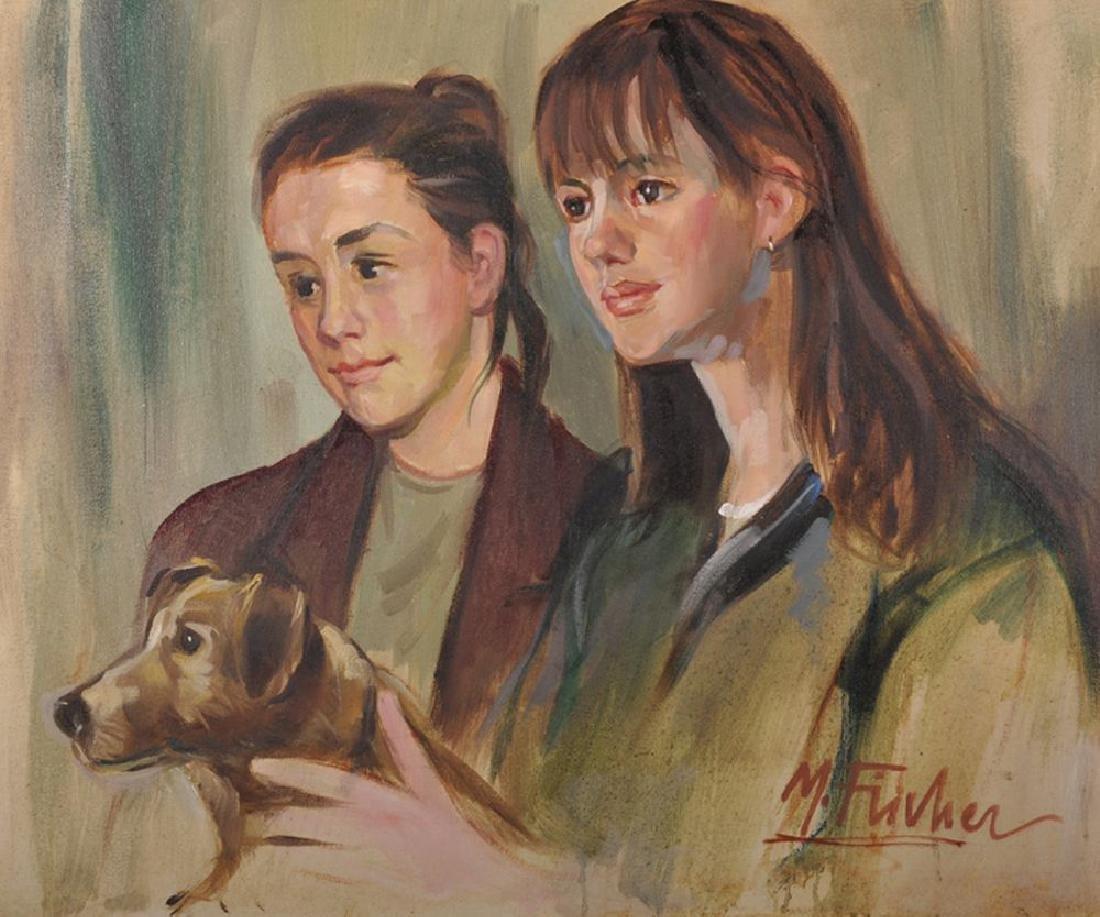 M...Fischer (20th Century) British. Two Girls with a