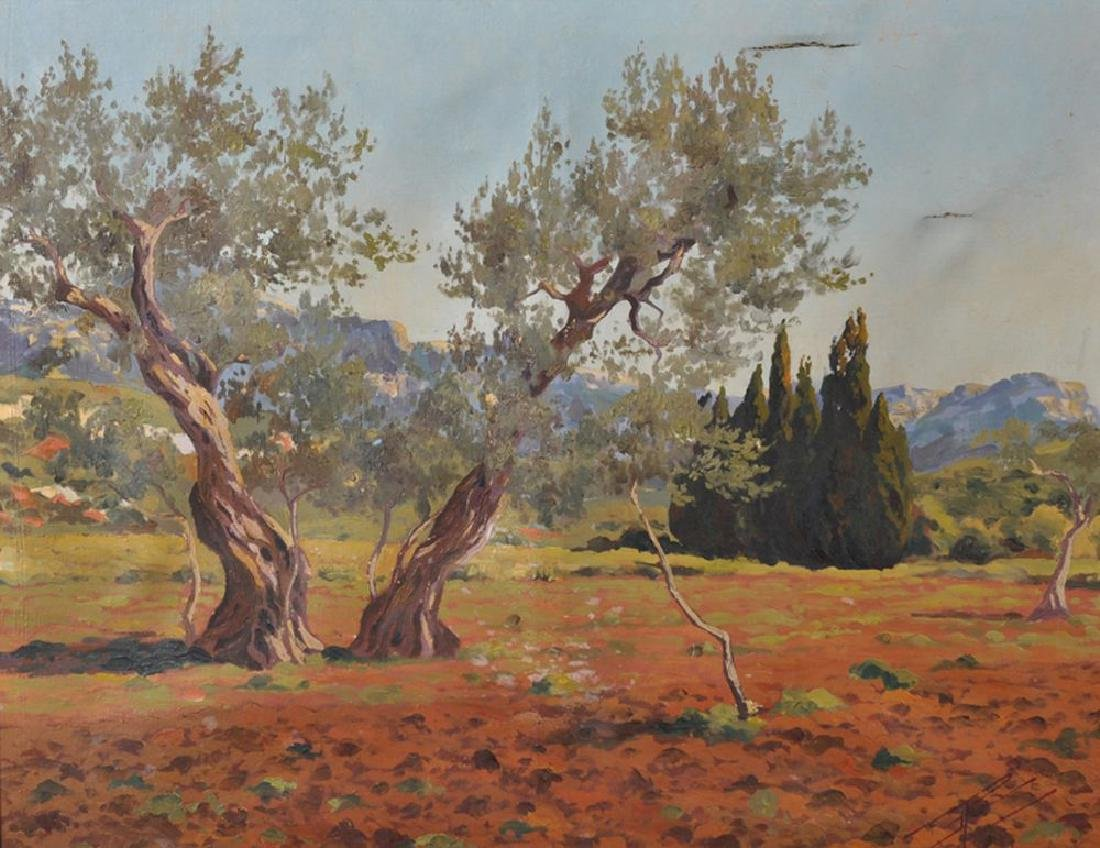 J... Pol (20th Century) Continental. 'Olive Trees', Oil