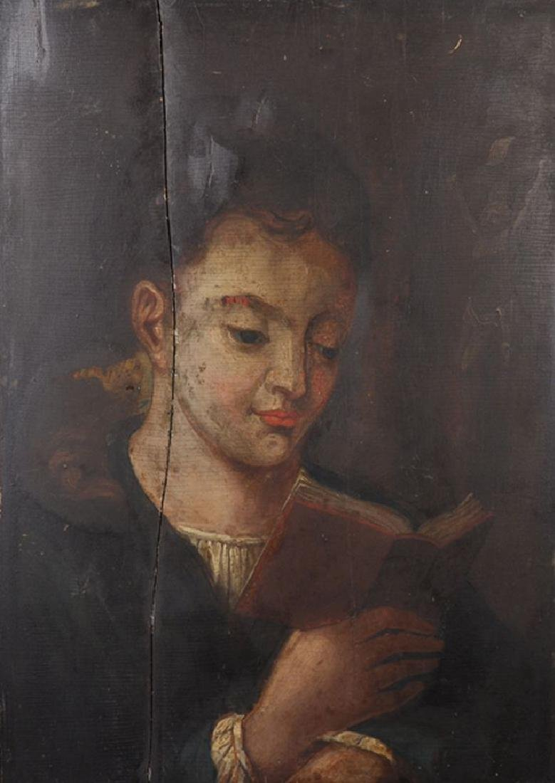 19th Century English School. A Young Boy Reading a