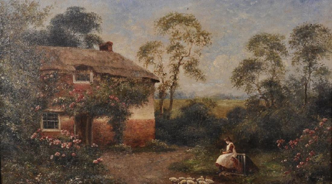 19th Century English School. A Girl Feeding Chickens