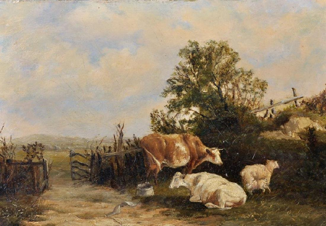 19th Century English School. Cows in a Field by a Gate,