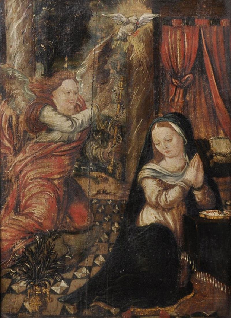 17th Century Dutch School. 'The Annunciation', Oil on