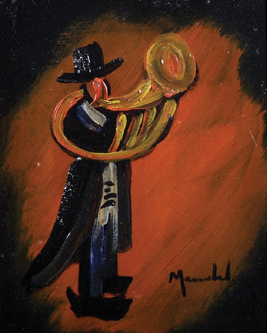 20th Century Spanish School. A Trumpeter, Oil on Board,