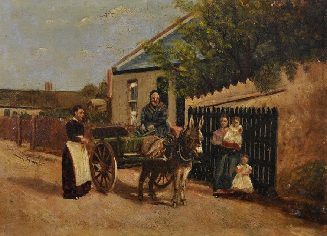 19th Century Irish School. Old Lady in a Cart with