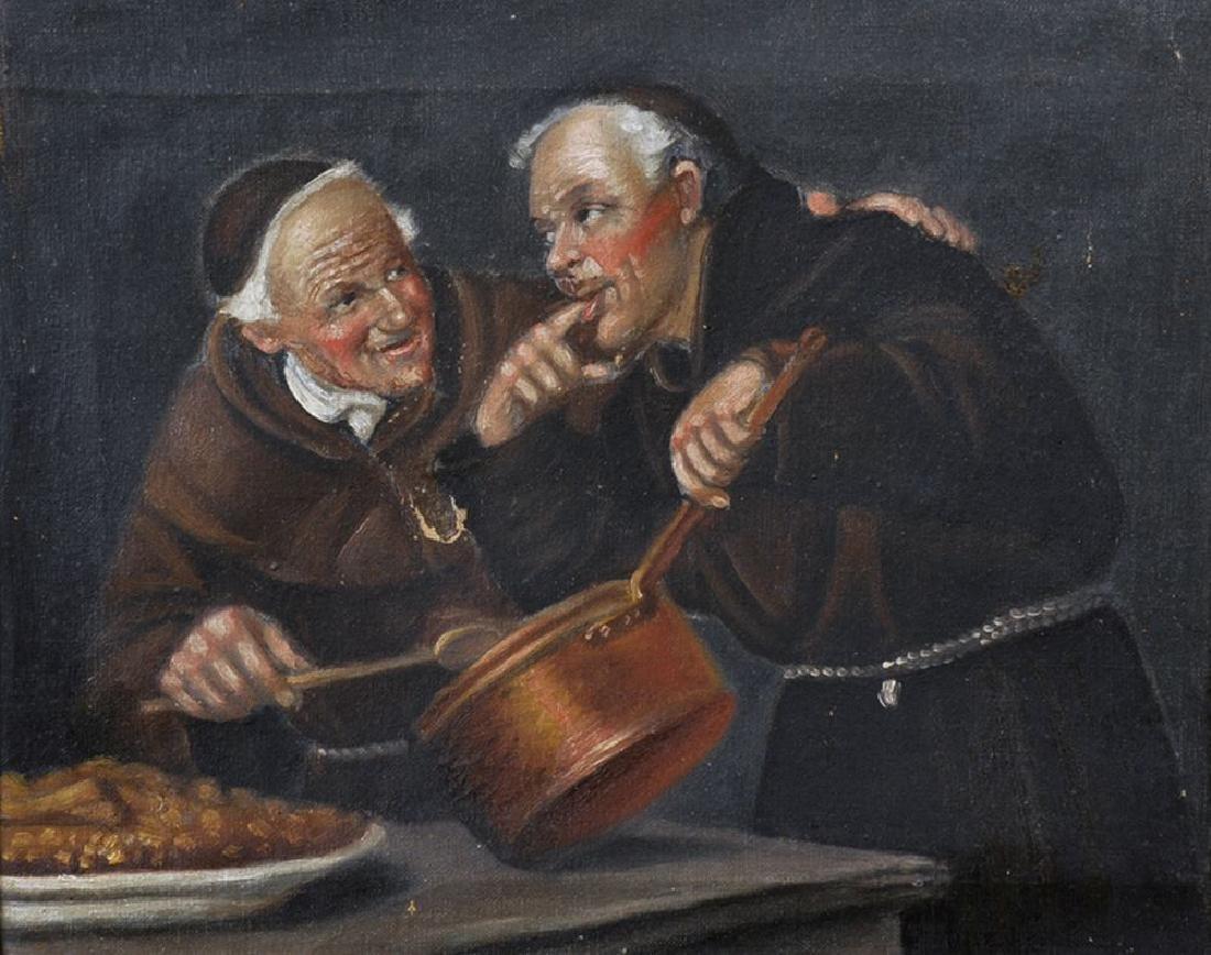 19th Century Italian School. Monks Tasting from a Pot,