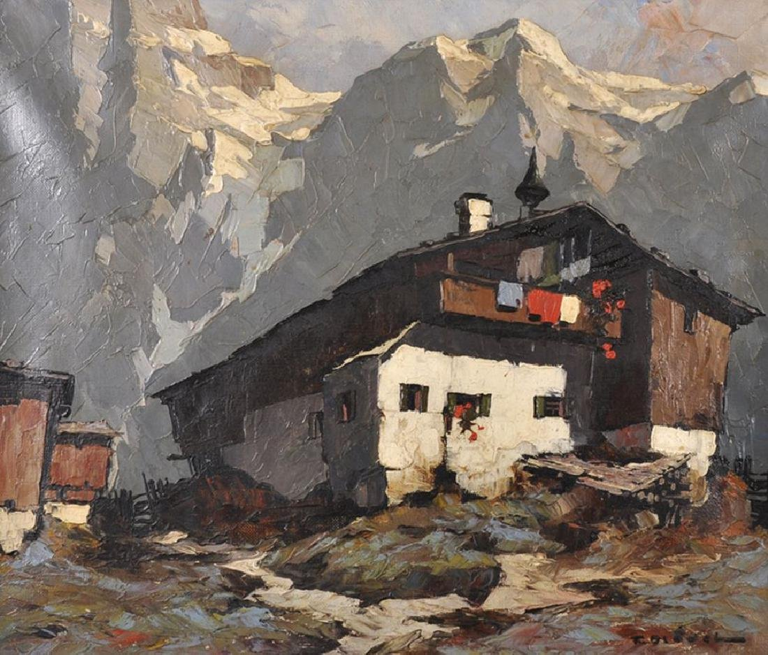 Fritz Bladel (1903-1950) German. An Alpine Chalet with