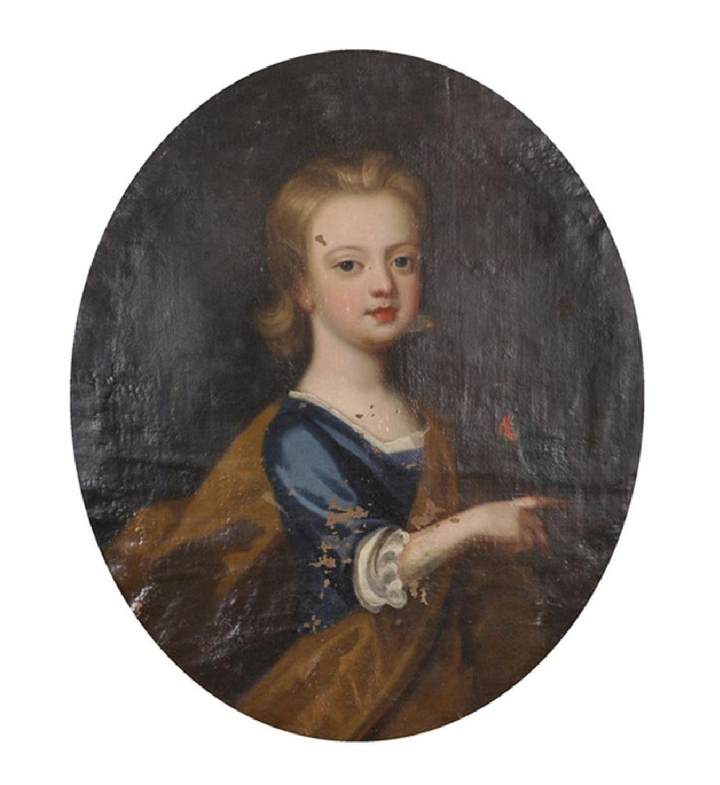 18th Century English School. Portrait of a Girl holding