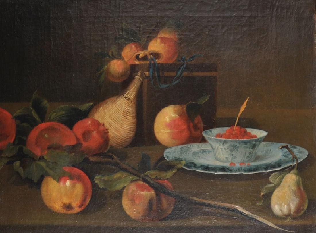 18th Century Italian School. Still Life of Fruit, Flask