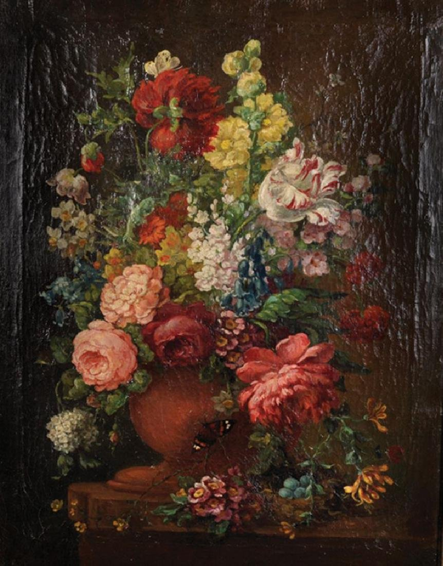 19th Century English School. Still Life of Flowers in