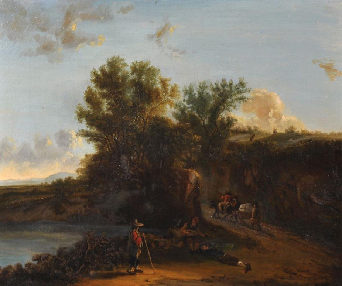 18th Century Dutch School. A River Landscape with