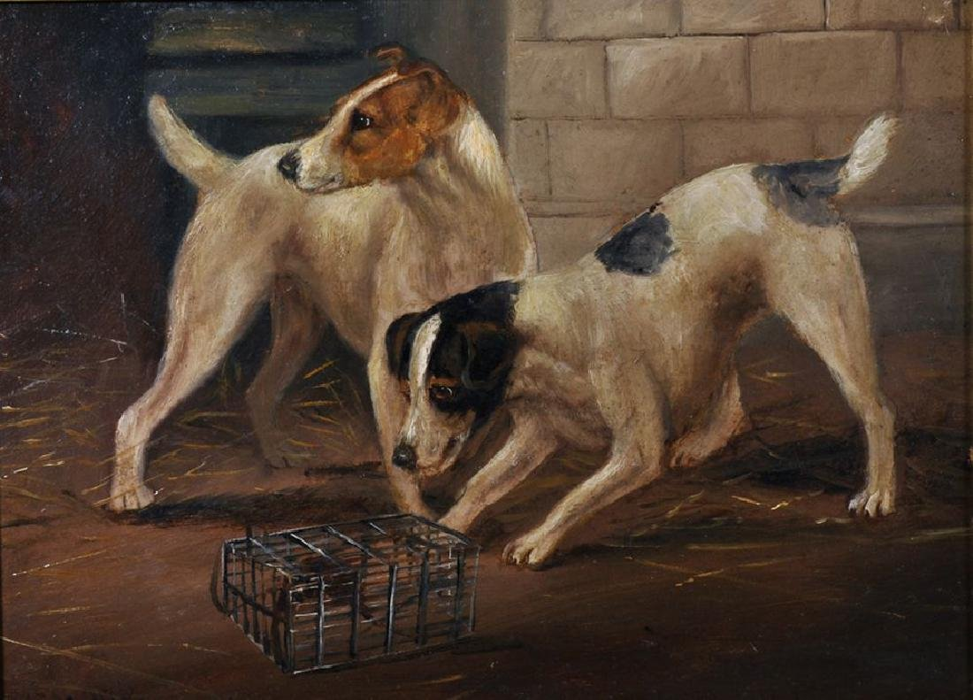 Late 19th Century English School. Terriers Chasing a