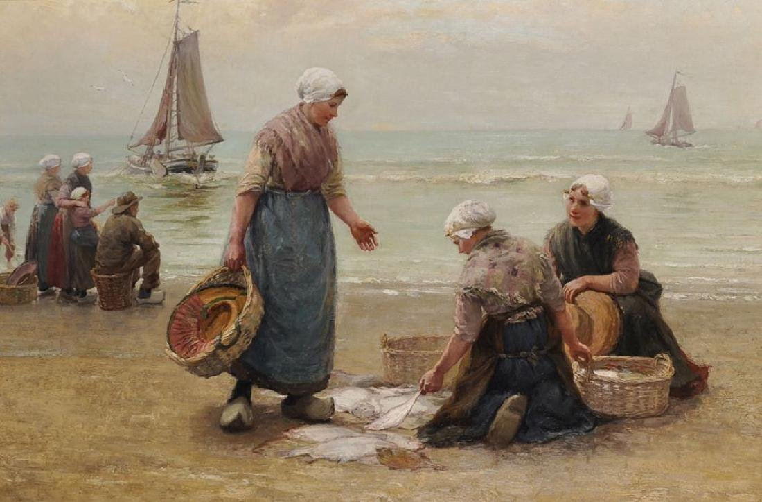 Edith Hume (1832-1926) British. 'Sorting the Catch',