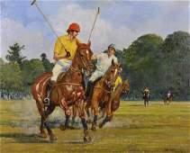 John Grove (20th Century) British. A Polo Scene, Oil on