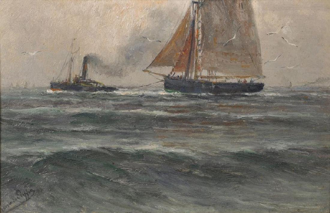 Romain Steppe (1859-1927) Belgian. Study of a Tug