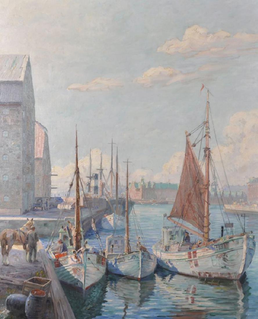 "Robert Panitzsch (1879-1949) Danish. ""Fisching Vessels"