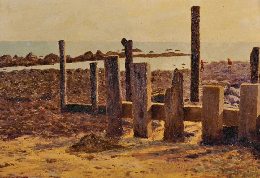 "Harold Cox (20th Century) British. ""Groynes at"