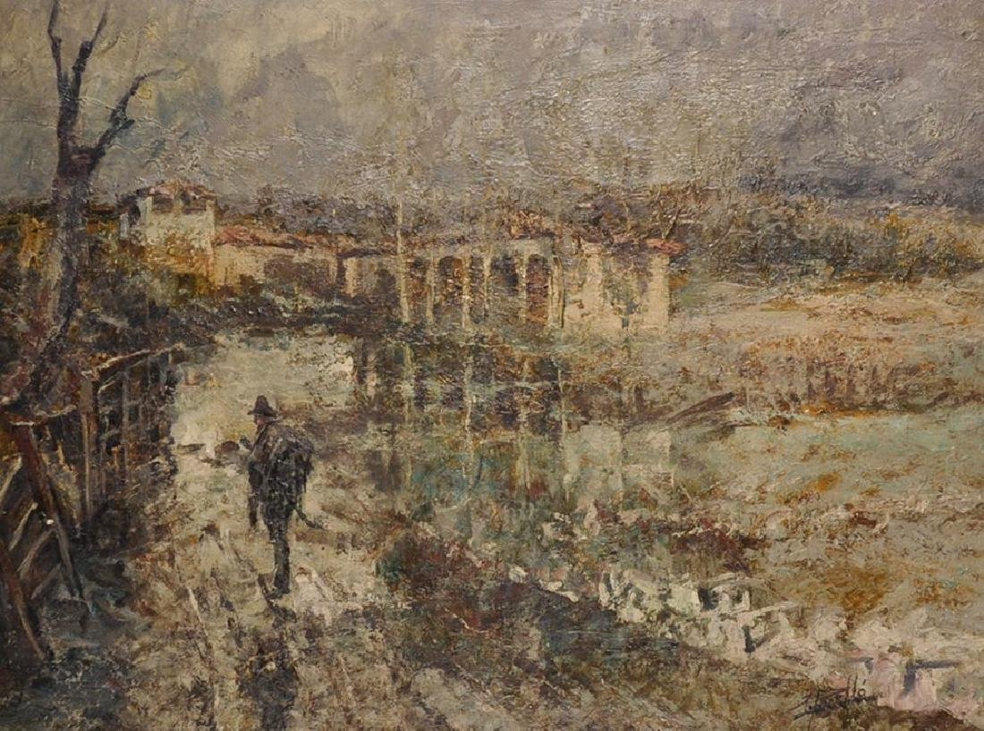 20th Century Italian School. A River Landscape with a