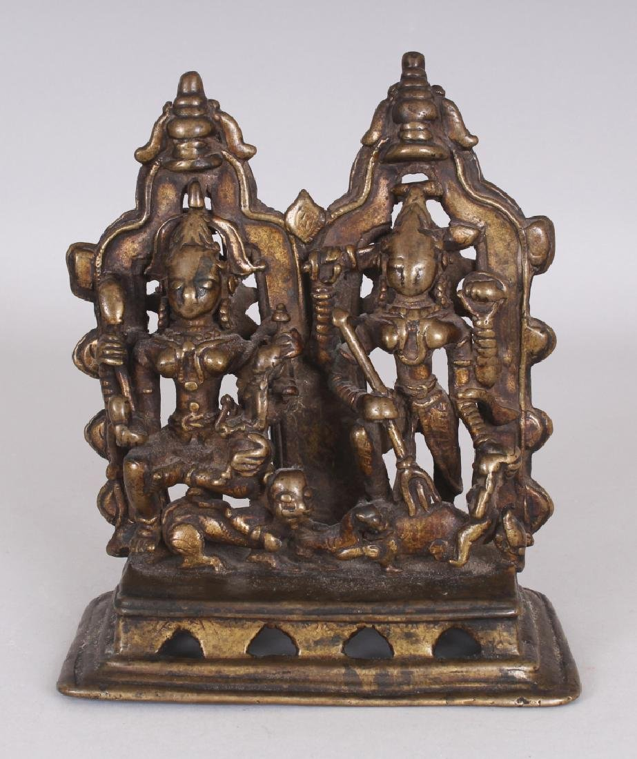 An Unusual Bronze Group Depicting Ambika and Durga,