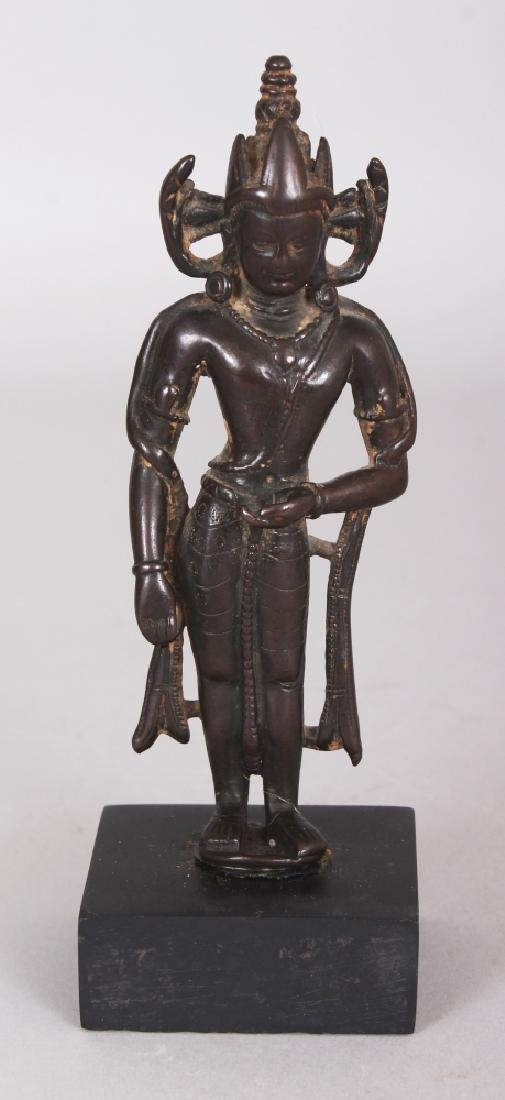 A Small Bronze Crowned Figure of Buddha, Kashmir,