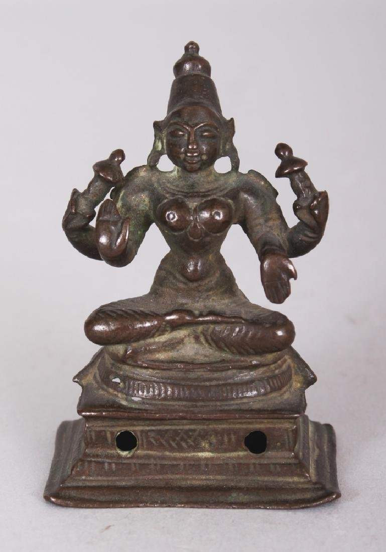 A Small Bronze Figure of a Goddess, Probably Parvati,