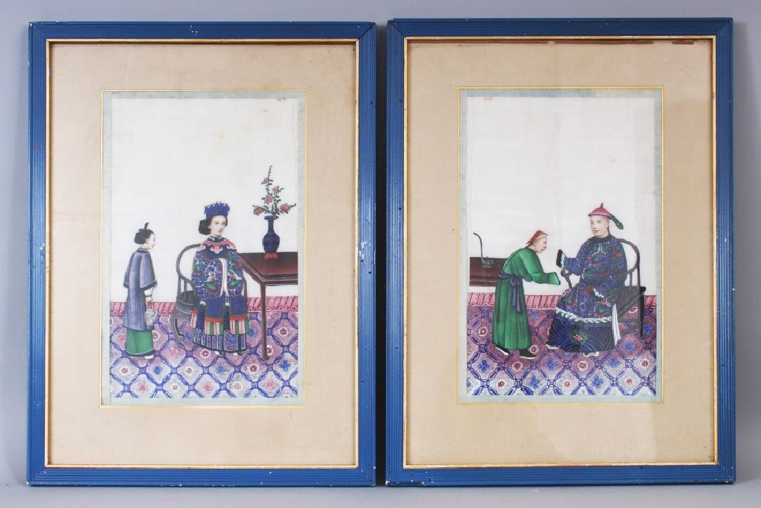 A PAIR OF 19TH CENTURY FRAMED CHINESE PAINTINGS ON RICE