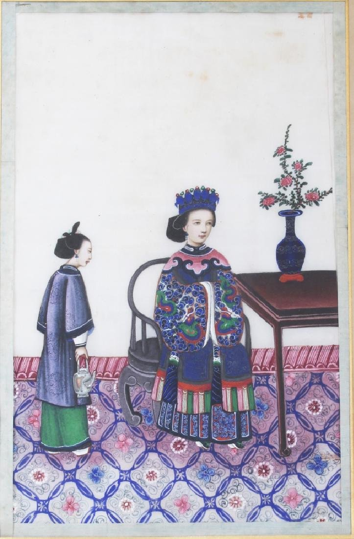 A PAIR OF 19TH CENTURY FRAMED CHINESE PAINTINGS ON RICE - 2