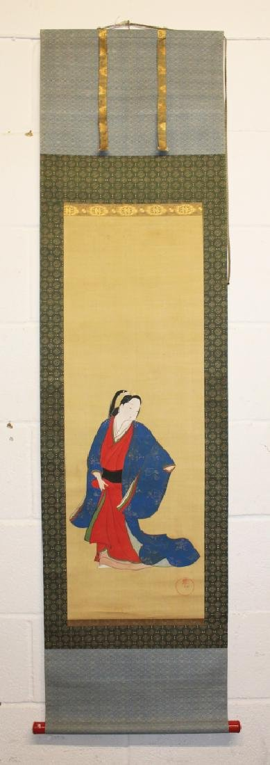 A 19TH/20TH CENTURY JAPANESE HANGING SCROLL PAINTING ON - 2