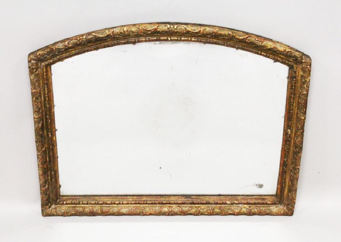 A 19TH CENTURY ARCH SHAPED OVERMANTLE MIRROR, with