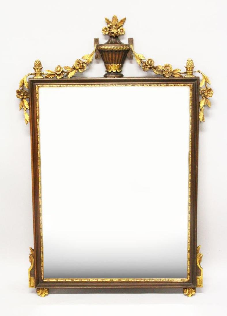 A DECORATIVE MAHOGANY AND GILTWOOD PIER MIRROR,
