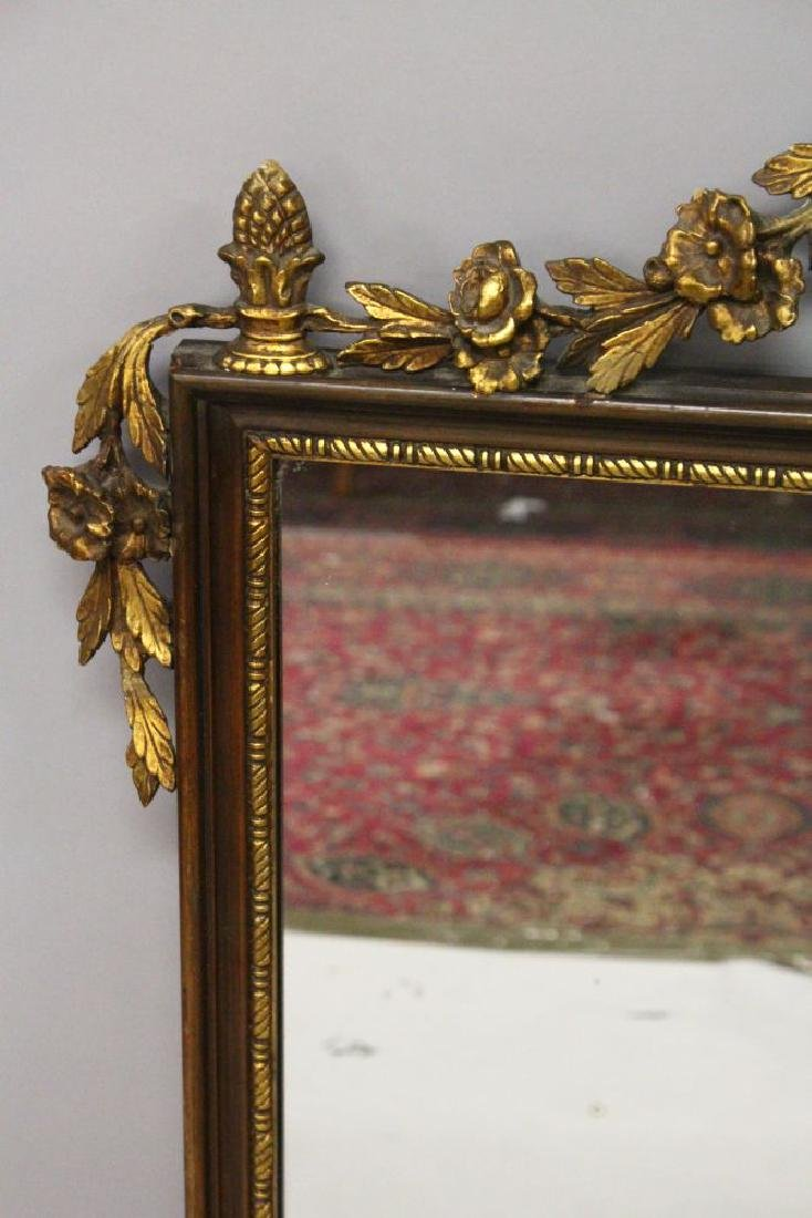A DECORATIVE MAHOGANY AND GILTWOOD PIER MIRROR, - 3