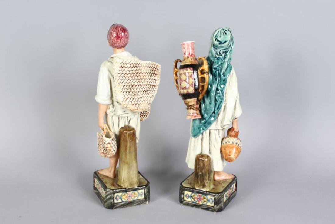 A PAIR OF CONTINENTAL MAJOLICA FIGURES, YOUNG BOY AND - 2
