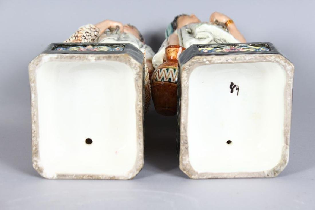 A PAIR OF CONTINENTAL MAJOLICA FIGURES, YOUNG BOY AND - 3
