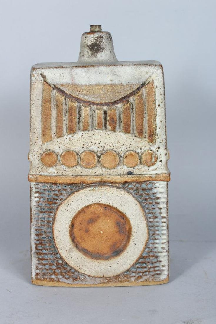 A STUDIO POTTERY LAMP BASE, CIRCA. 1960'S, of tapering