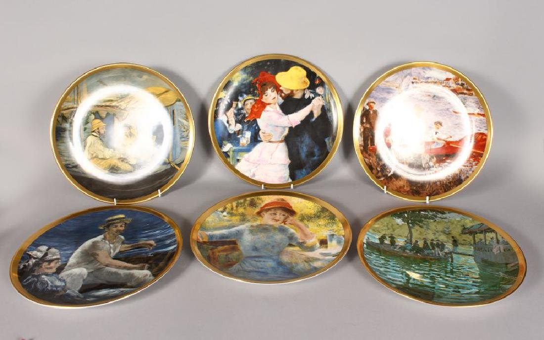 A SET OF SIX CROWN STAFFORDSHIRE PORCELAIN PLATES,