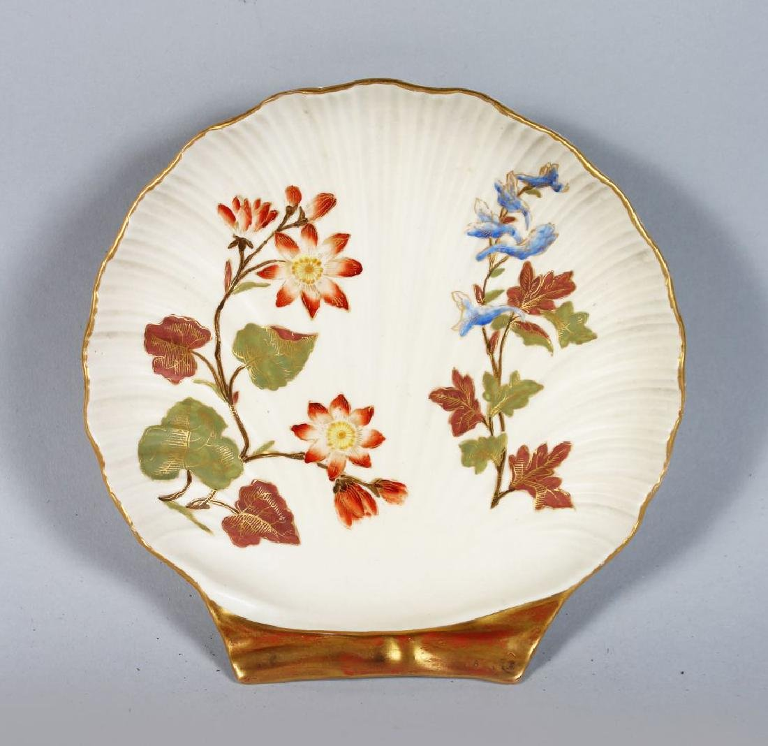 A ROYAL WORCESTER SHELL SHAPED DISH.  6ina wide.