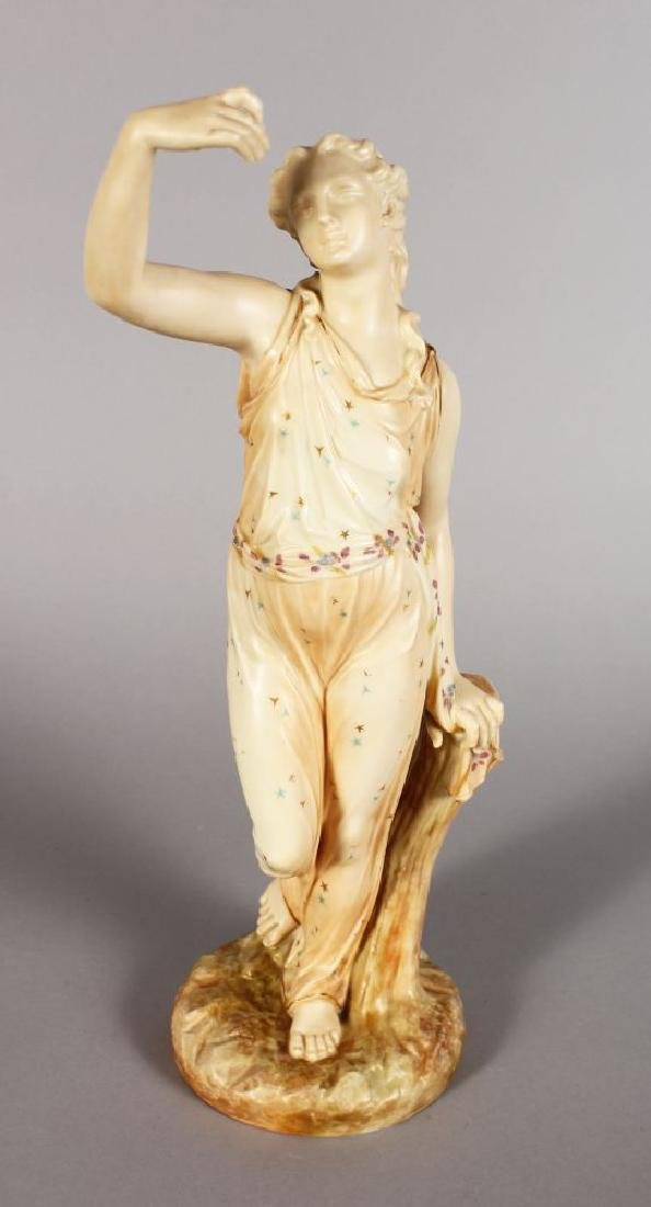 A ROYAL WORCESTER FIGURE OF A CLASSICAL GIRL, standing