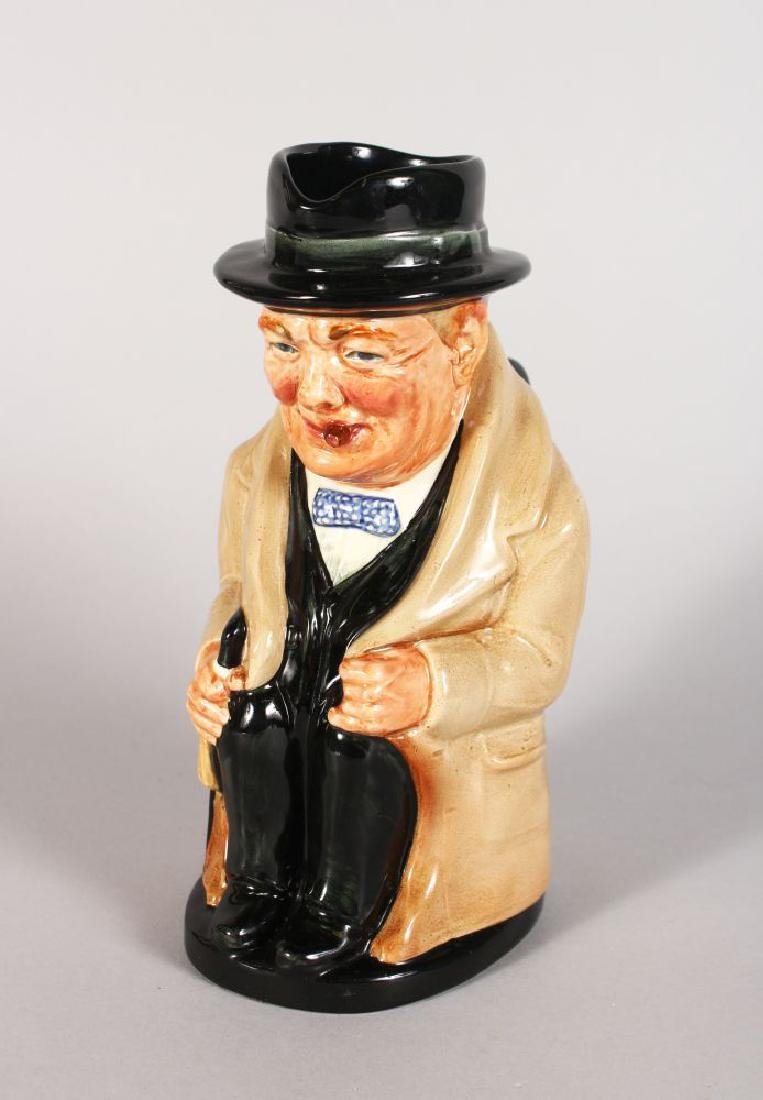 A ROYAL DOULTON WINSTON CHURCHILL TOBY JUG.  9ins high.