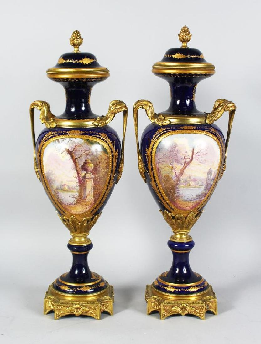 A SUPERB PAIR OF 19TH CENTURY SEVRES PORCELAIN AND