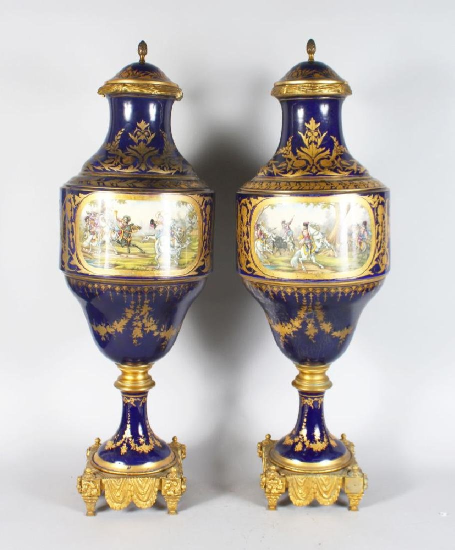 A SUPERB PAIR OF 19TH CENTURY SEVRES PORCELAIN VASES